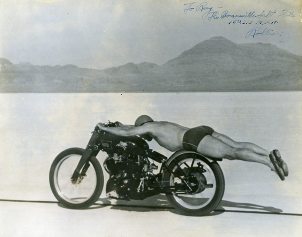Rollie Free, flat out at Bonneville. This picture surely contributed to make him a legend as well as Vincent. Courtesy of Marty Dickerson