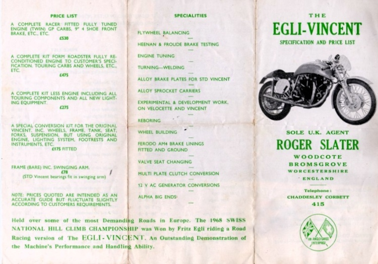 The original Slater price list back in 1968. A complete rolling frame cost GBP 175, today it will likely cost 100 times and you still have to add a complete restored engine.
