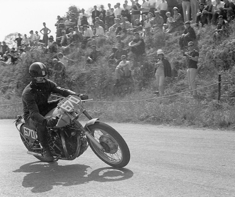 Fritz Egli racing his Black Shadow, this was the very first season! during the winter he put together what will become the Egli-Vincent