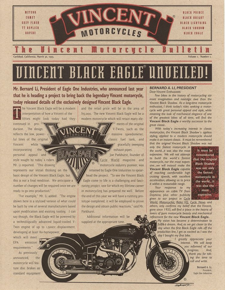 Mar 30, 1995... Bernard Li announce in this first flyer that he started his quest to make the Vincent V-Twin back to life.