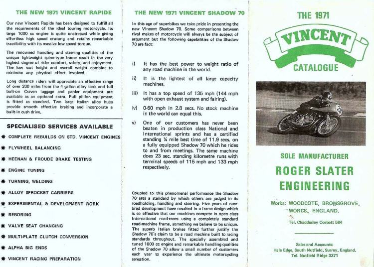 The 1971 Slater flyer. The most important information on this document is that the mention to EGLI is gone.
