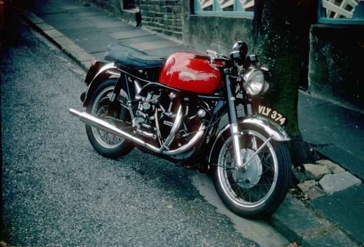 A road Norvin back in the 60s, caught on the street in England