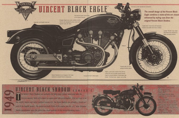 "The page 2 and 2 show his vision of the ""Black Eagle"" along with a 1949 Black Shadow Series C"