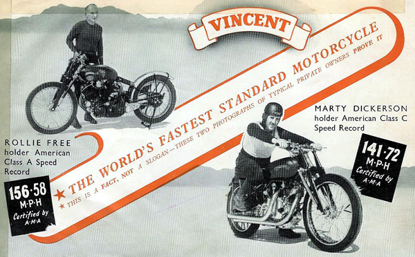 The Vincent advertisement in the 50s, featuring the Bonneville speed records.