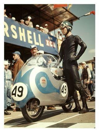 Tarquinio Provini and his 1957 Works 125cc DOHC Mondial.