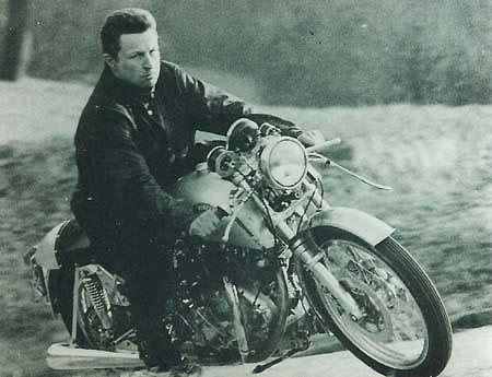 Fritz on one of the first Egli-Vincent manufactured for customers.