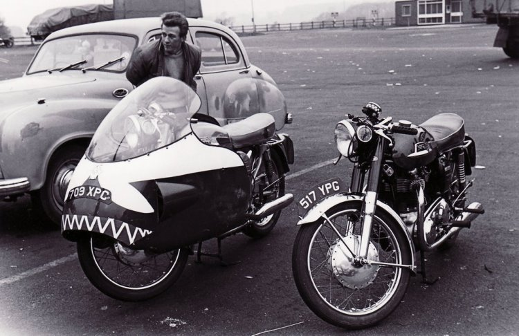Here is a pair of Norton 750 Atlas, one stock and one with a Dustbin fairing. Picture taking in the 60s.