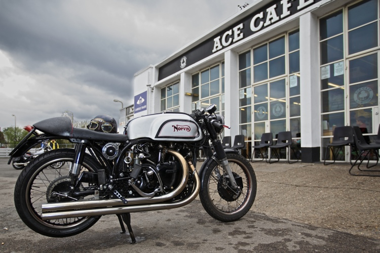 Beautiful picture of Mark Warriner's Norvin in front of the Ace Cafe in London