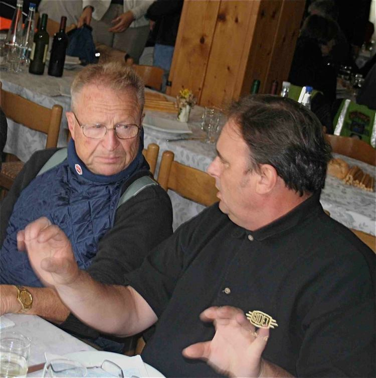 Fritz Egli (feft) and Patrick Godet (right) discussing  at the Vincent-HRD Owners Club Rally in 2008. © David Lancaster