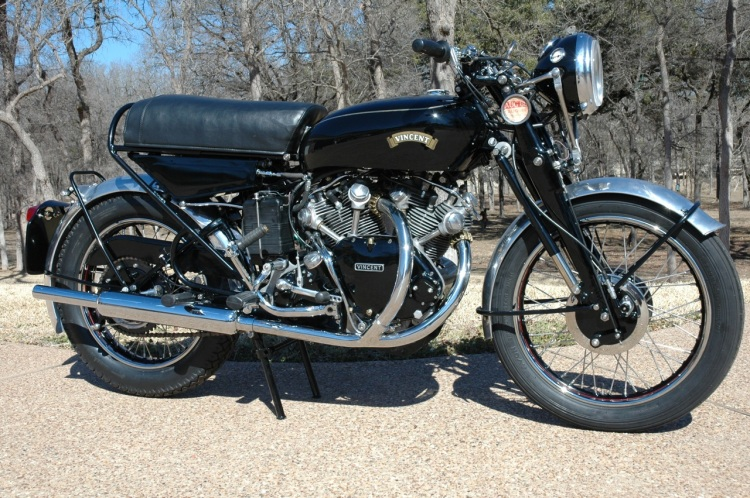 "D As the 140 Black Shadow Series D, which are very closed aesthetically to the Rapide; a ""Black Shadow"" replaces the ""Mercury Crest"" on the top of the tank. Although the desirability is very high among Vincent owners, many prefer the Series C as more emblematic of the Vincent myth."