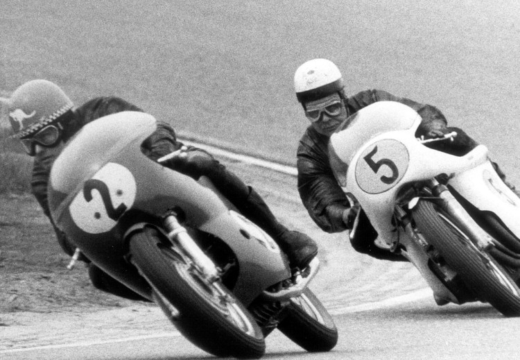 17.Jack Findlay preceding Karl Hoppe on an in-line four cylinder engine built by Helmut Fath mounted in a Metisse frame developed by Rickman, Aug13, 1969.