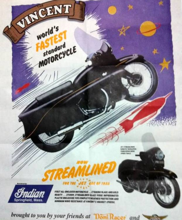 "Q As the Quest for the ""The world Fastest Standard Motorcycle"". Rollie Free, Marty Dickerson, George Brown and Russel Wright were the contemporary Vincent pilots chasing the last mph to ensure this bolt statement remained a fact, not a slogan."