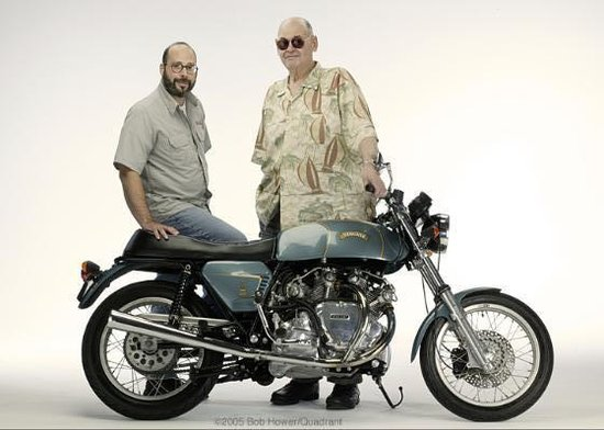 "Big Sid and his son Matthew a few years later in 2005. Sid was a ""big"" guy, 6' 5"" (196 cm) and 300 lbs (136 kg). Sid often mentioned that the Ducati was a little""roomier"" for him than the compact Vincent."