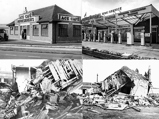 The original Ace Cafe in 1938 before and after the air raid.