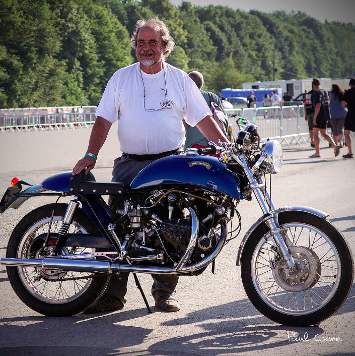 "Alain Grare and his gorgeous Egli-Vincent Black Shadow. This bike has a full history and is with no doubt an original Egli. Experts will notice the original shape of the ""banana"" tank and the solo seat, the Campagnolo mechanical brakes and a few details like the see-through oil line behind the steering column that we will talk about later.  ©  Paul Coene"