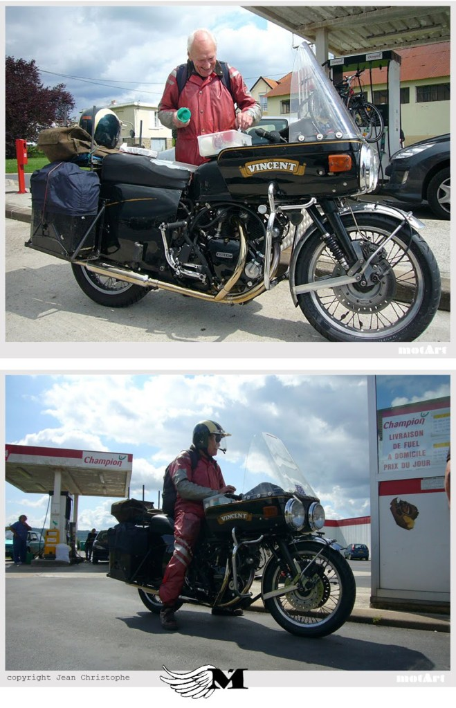 "Z As ""Z"" End of the story? Certainly not; years after years, a dominant core of long time Vincent owners meet, ride, race, cheer and love their bikes, and this never ended. Stuart Jenkinson, which put 721,703 miles during 56 years on his 1955 Black Prince ownership became one of the most emblematic, but there are many more around the world. (Photo ©Bert Cauberg)"