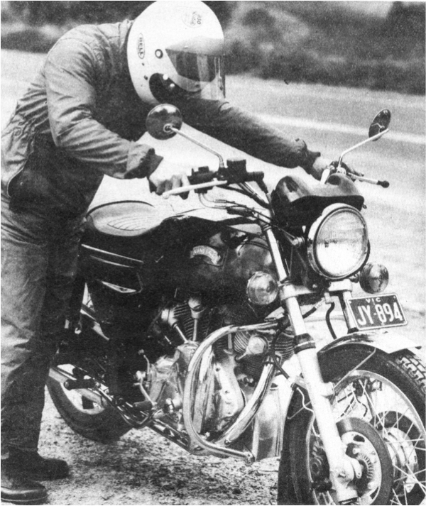 Max Johnson and his Vincati in 1975.
