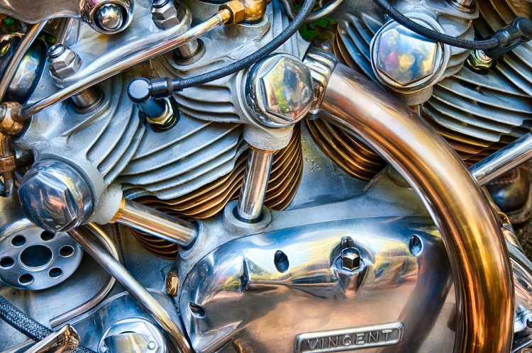 A close-up of the Falcon'e engine, it looks so colorful that could nearly be a painting