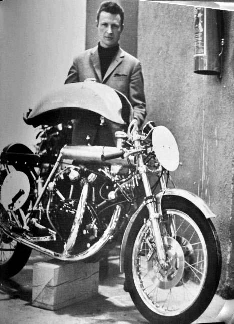 Fritz Presenting his first Egi-Vincent Black Shadow, 45 years ago. It was a racing bike so she did not even have a side stand.