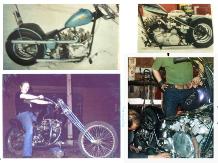 """Various choppers straight from the 70s I bet that: - the top left corner is the first bike of this folder (green tank with Union Jack) and, - the bottom left is the second bike of this folder, although the front fork is different (previous slide). The bottom right is captioned """"Dick Allen's Vincent chopper""""."""