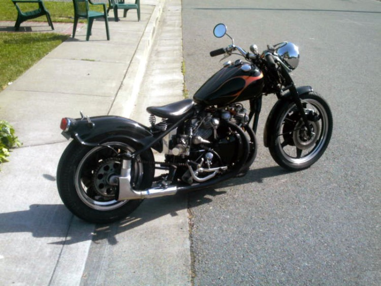 This bobber conversion is based on an Indian Frame and a Vincent engine, so technically this is a Vindian, however nothing to do with the original prototype assembled by the factory in 1948.