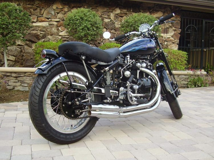 """This 1949 Vincent Rapide was auctioned at Las Vegas in Jan 2013. At $66,000 it did not sell. The seller was asking for $80,000. The engine is stroked to 1200cc.  The catalogue mentions the following: """"The Rapide has been a personal project for the seller for over 20 years and was recently completed in October 2013. The restoration was done with great attention to details and include parts from a rare Vincent Lightning and a Vincent Black Shadow. After restoration no fluids were added. No miles on the rebuilt engine. Overall the seller wanted to create the vision of the """"Ultimate Café Racer"""", this bike is the result! Sold with title guaranteed"""""""