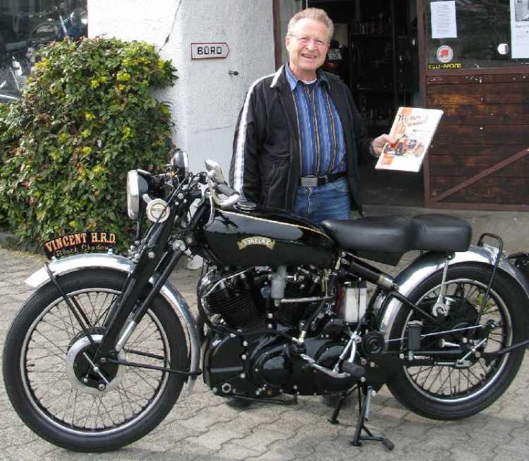 I love this picture as it kicks nearly 50 years back before the story even started when Fritz was given a stock Vincent Black Shadow...