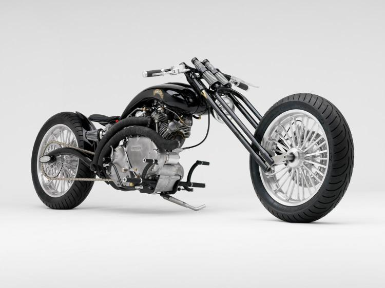 """Vince """"Nobody"""" Doll from Redneck Engineering built this bike in 2000 for Mike Marquart. Its nickname is """"Curves"""" and it uses a 1951 Vincent Rapide engine that Steve Hamel workshop in Minneapolis contributed to restore."""