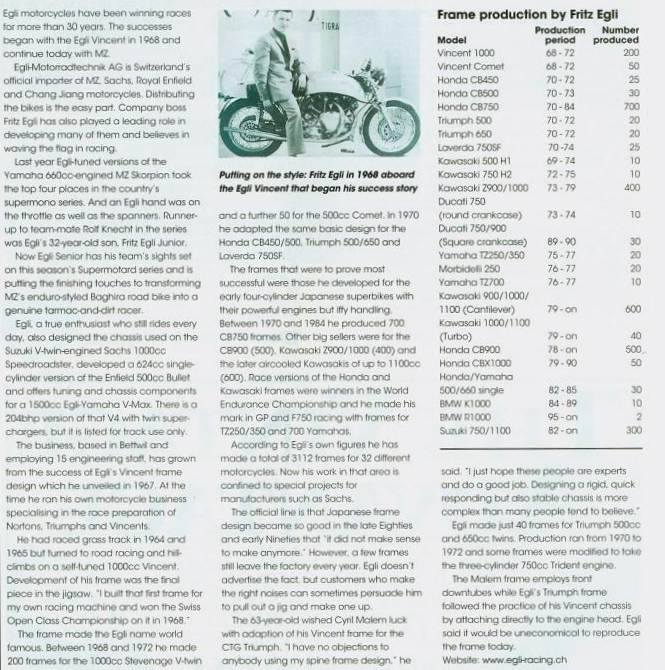 I found this paper in Classic Bikes from June 2000, as part of an article presenting a new bike from Cyril Malem: the Triumph Bonneville racer. It provides some key indications about the production from Fritz Egli: 200 Vincent twin and 50 Vincent single among 3,112 frames built at that date.
