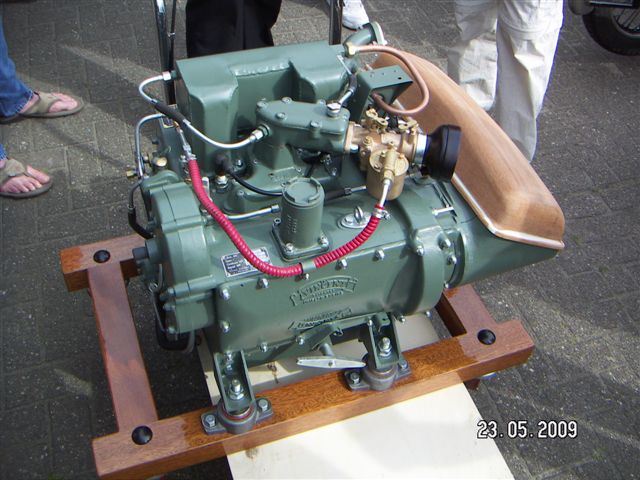 "This is lifeboat engine: ""a 500 cc 3 cylinder 2 stroke, 2 outer cylinders being the power cylinders, the middle being scavenging cylinder, Each power cylinder contained two slightly oversquare opposed pistons with uniflow piston-porting. Unusually for a small two-stroke, there was no reliance on the Kadenacy effect. The transfer ports though were angle-drilled to encourage swirl. Even more unusual the scavenge piston was double acting"" says the comment coming along with the picture....  …. Really? Sometimes I wish that Vincent engineers were more focus on motorcycles."