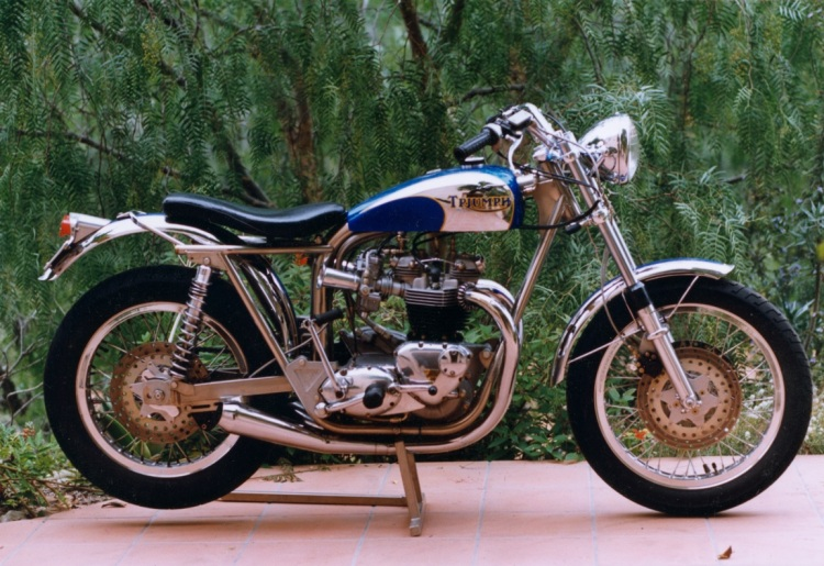 A Triumph 650 Bonneville TrackMaster, also converted street legal.