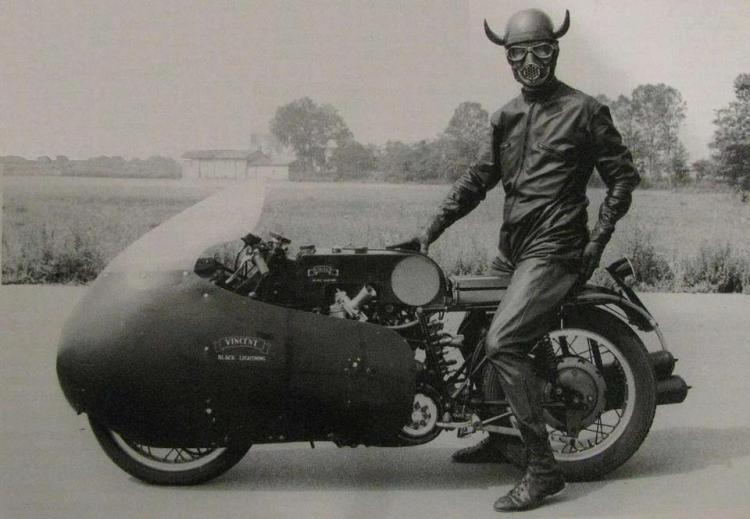 """No"", it is not a Moto Guzzi V8 coming back from hell, according MPH Nov '12, this guy is Gino Cavanna an italian dealer which beated numerous speed records. This is an hybrid of Vincent engine and Guzzi frame."