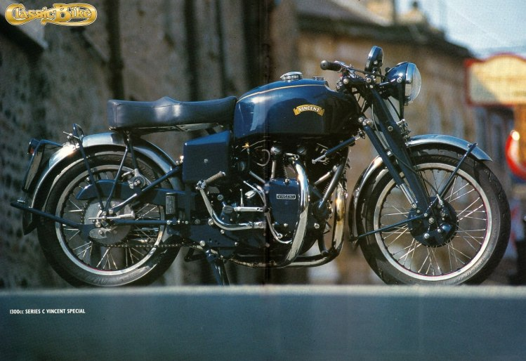 A unique model as well. This 1300 Blue Shadow was assembled in 2001 by Steve Tonkin as an attempt to make the fastest Standard frame street Vincent. (Non-stock color)