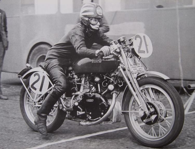 "In Geoff Preece book ""A Photography Miscellany"" published by The HRD Vincent Owner's Club, you realize that in the mid sixties there were an awful lot of Vincent racing all across the place, but not that much by ladies. This awesome picture was taken at Church Lawford in 1965 and ""Margret Reiser, straight ahead, gets away smoothly. Margret had ridden the Comet all the way from Switzerland""."