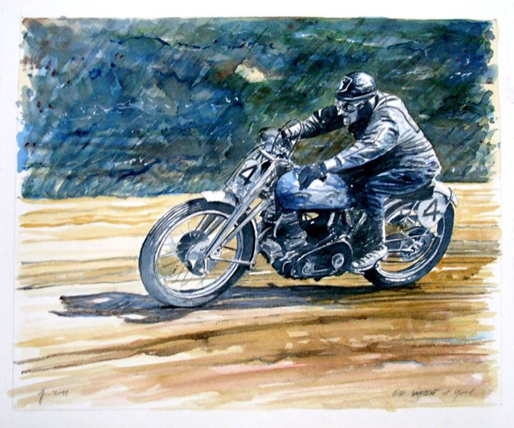 I really love this watercolor by Jean-Marie Guiv'arch representing a Vincent Grey Flash.