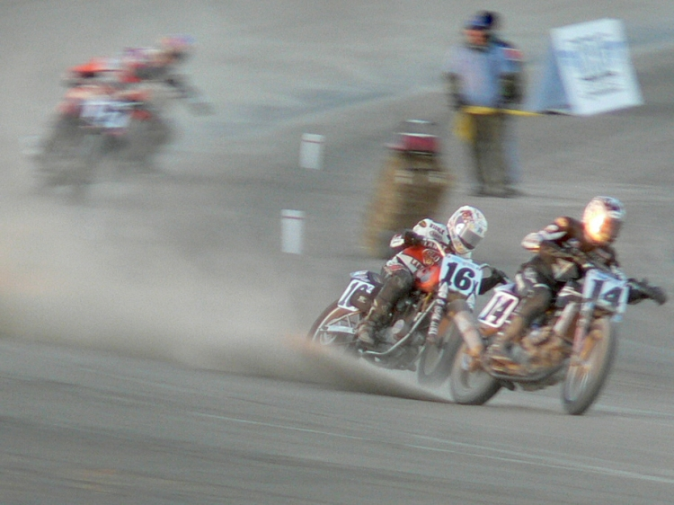 This is the Flat Track: a pack of rabid flat-out on dirt…. ☺