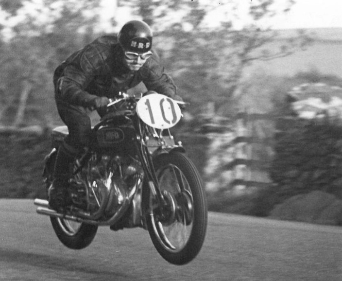 "A newspaper commented, ""The sight of Alex Phillip airborne at 130mph going past the Highlander pub was enough to put patrons off strong drink forever.""Phillip really 'down to it.  Creg-na-Baa at top speed 