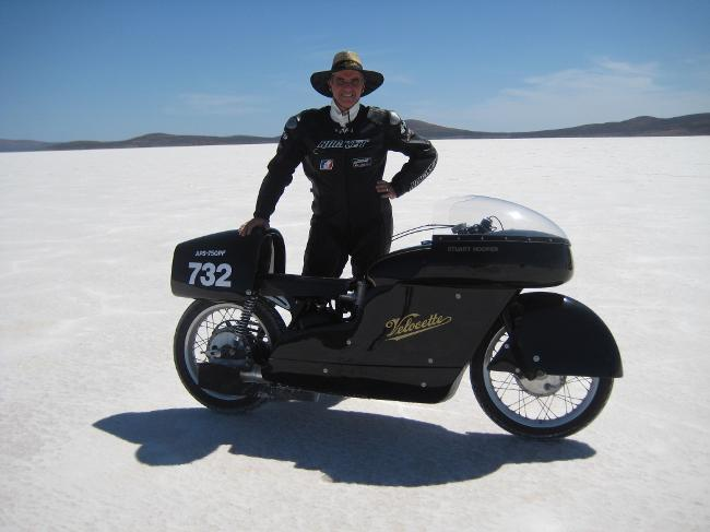 """DLRA Record Holder 139.001 MPH at Lake Gairdner in 2010, finally Beating Burt Munros Long Standing 1971 Record of 132.350 MPH.""""The bike was blown of the track at around 140mph on two runs, one with the big tail and one with the small tail. Finally on the last day with the small tail and under geared we finally set a new record of 139.001mph, and became the world fastest Velocette"""". 