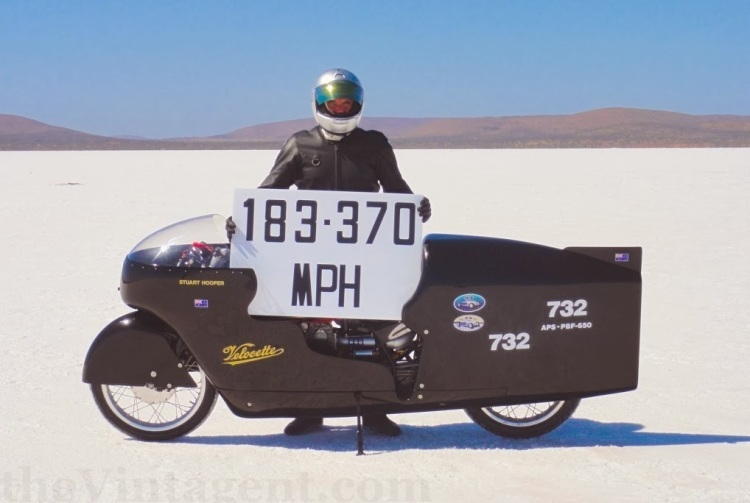 183.374 mph, the Velocette name is confirmed to be the Worlds fastest British single surpassing the fantastic Vincent Might Mouse of Brian Chapman. | Picture Stuart Hooper