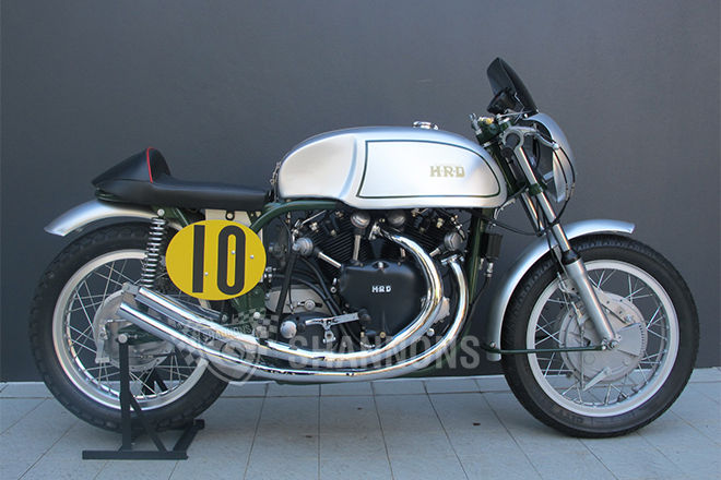 SOLD in Australia (Shannons' Auctions) | Norvin 1000 moniker has been coined to describe the popular hybrid of a Norton Featherbed frame fitted with a Vincent V-twin engine, combining the best handling and most competitive frame of the era with the most potent engine available. Although most Norvins were one-off creations built strictly for the track, there have been a few attempts at series production over the years, including by Tom Somerton of Staffordshire in the late 1950s and more recently, by the likes of Hailwood Motorcycle Restorations and JMC Classics. There is no definitive Norvin specification as such, each bike being a unique creation reflecting the skills - and budget - of the builder, with the Featherbed frame often modified to lower the centre of gravity, while some Norvins even have the front tubes removed entirely. As the supply of original Manx frames dried up, various aftermarket parts were used in the construction of these potent weapons and a cottage industry has sprung up supplying the componentry needed to build one. Norvins remain popular today and can be found at bike meets around the world, where they are sure to attract a crowd of admiring onlookers. https://www.shannons.com.au/auctions/2014-shannons-sydney-winter-classic-auction/Y6F5NM2FQ5YCQ98J/