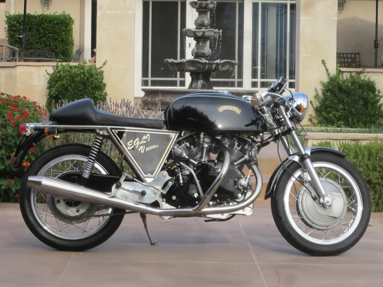 09/09/2014 | EGLI-VINCENT in the US 1974 Egli-Vincent with 1000cc Vincent Black Shadow engine in it. Classic Egli nickel plated chassis with Ceriani 35mm front forks, Borrani WM3 alloy wheels laced to large drum brakes. Aluminum alloy gas tank, Smith gauges and much more. Excellent motorcycle for a canyon road run or for any concours d'elegance. $59,500.00 Contact: batorintl@aol.com Tel: (1) 805 798-1802 www.batorinternational.com