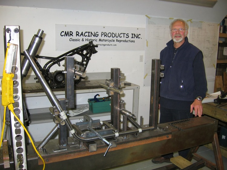 Denis Curtis in his workshop in Vancouver, B.C.  CMR core activity is focused on building classic racing frames for Yamaha 4-cylinder and 2-cylinder, 2-strokes and 15 other classic racing models, which are becoming popular in classic racing circles.