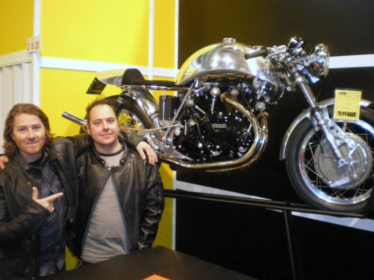 "Swen (right) and the American Designer Roland Sands (left) who seems to tell ""He is the guy!"""