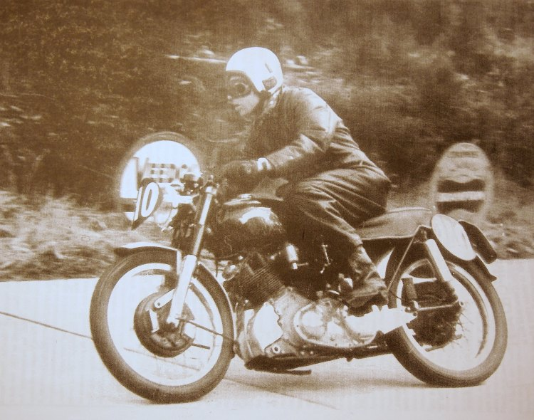 Marc Souvrain riding Nero at Cote L'Apize hill climb in 1960, where he made the best time. Picture © Marc Bellon
