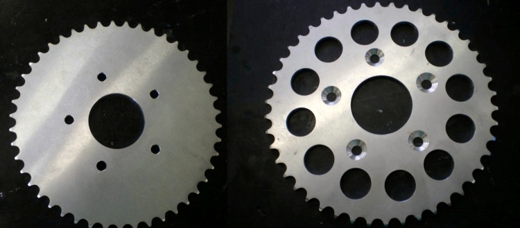The rear sprocket, before and after machining.