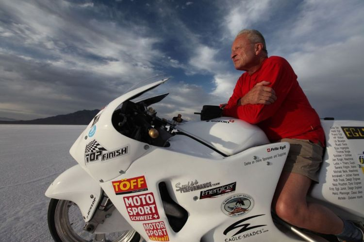 In 2009, Fritz and his team went to Salt Lake Salt Lake City for his ultimate race on a Suzuki Hayabusa that he prepared and delivering 400HP. He achieved 203mph (327kph) in the first run and 208.723mph (336kph) in the second, beating the previous record by more than 30mph.