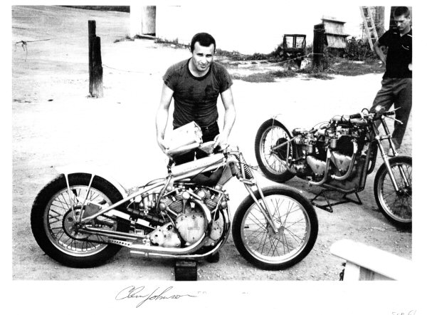 Clem Johnson with his famous Barn Job, Vincent drag bike in September 1961, Hobart, Indiana.  Photo courtesy of Jim Leineweber photo archive.
