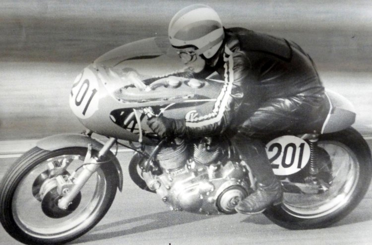 Lance Capon on Mark III in 1971. Lance was still wearing his open face helmet.  It was likely at the National meeting at Brands Hatch, probably end of May bank holiday weekend. Mark III had a twin front brake and a fairing.  Information Anne Callagher.