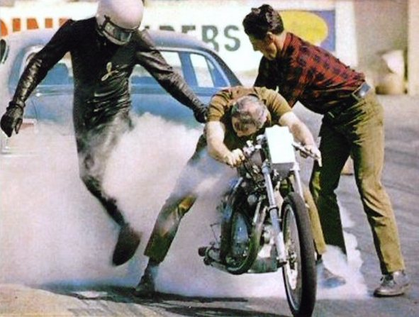This photo taken in the early 1970's shows Clem Johnson doing the burn out, between Jim Leineweber (L) and Ralph Owen (R) This photo was once used on bubble-gum trading cards.  Photo courtesy of Jim Leineweber photo archive.