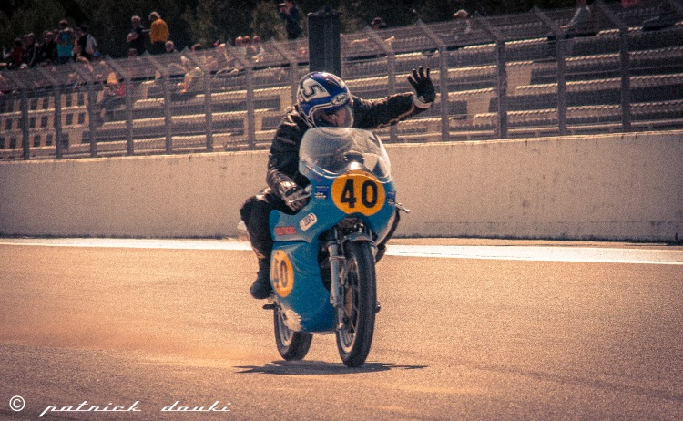 Bruno Leroy enjoying his first victory of the season on the Egli-Vincent 500